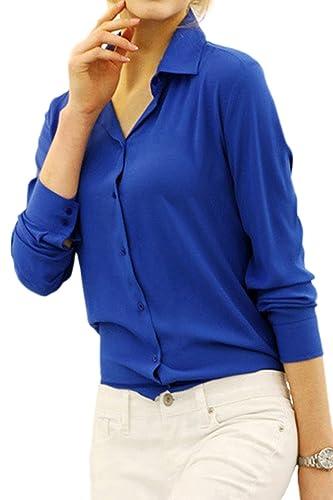 Elegante Camisa De Manga Larga Mujer Otoño Office Lady Monocolor Cuello De La Blusa