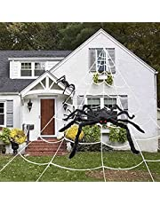 """Halloween Decorations Outdoor, 50"""" Scary Giant Spider with 200"""" Triangle Web and 2×20gr Spider Webs, Large Hairy Spider Props for Halloween Creepy Decor Indoor, Outdoor, Party, Window, Wall, Yard"""