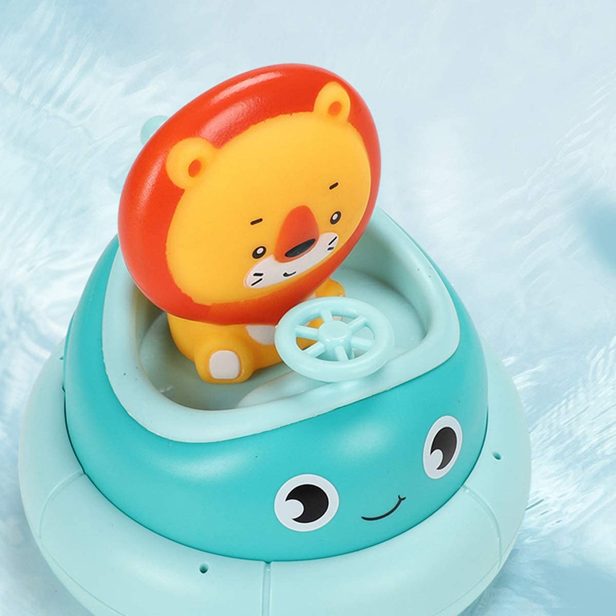 Baby Bath Toys Spray Water Floating Bathtub Toy with Automatic Rotation Shower Swimming Pool Bathroom Toy for Toddlers Squeeze Lion Animals Bath Boat