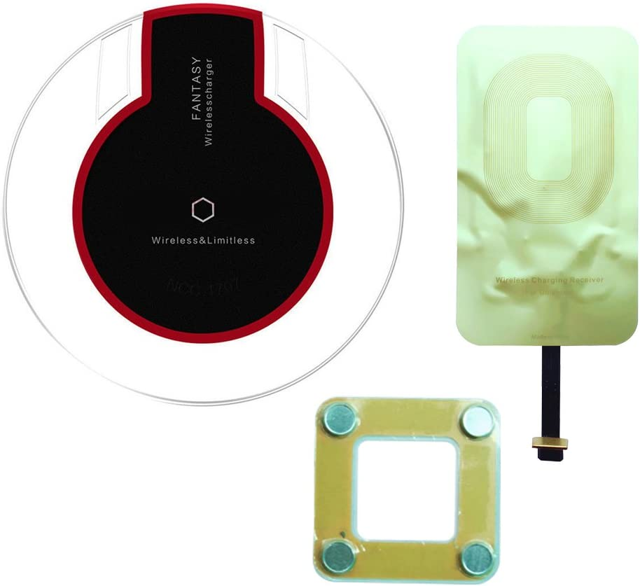 IGOUKJ Wireless Charger for iPhone X 8 8 Plus for Samsung Kit Include UFO Fantasy Qi Wireless Charger Pad Qi Charging Receiver for iphone5 5C 5S 6S 6 Plus 7 7 Plus Charger kit Receiver for iPhone