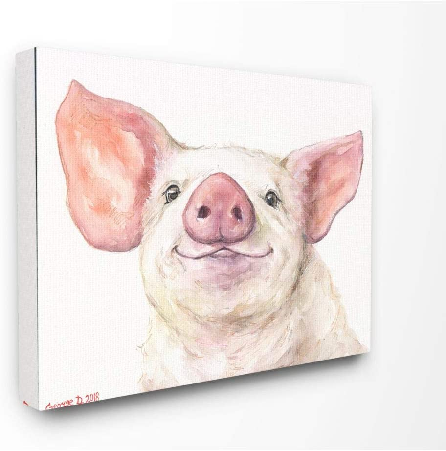 Stupell Industries Large Pig Head Animal Watercolor Painting Canvas Wall Art, 24 x 30, Multi-Color