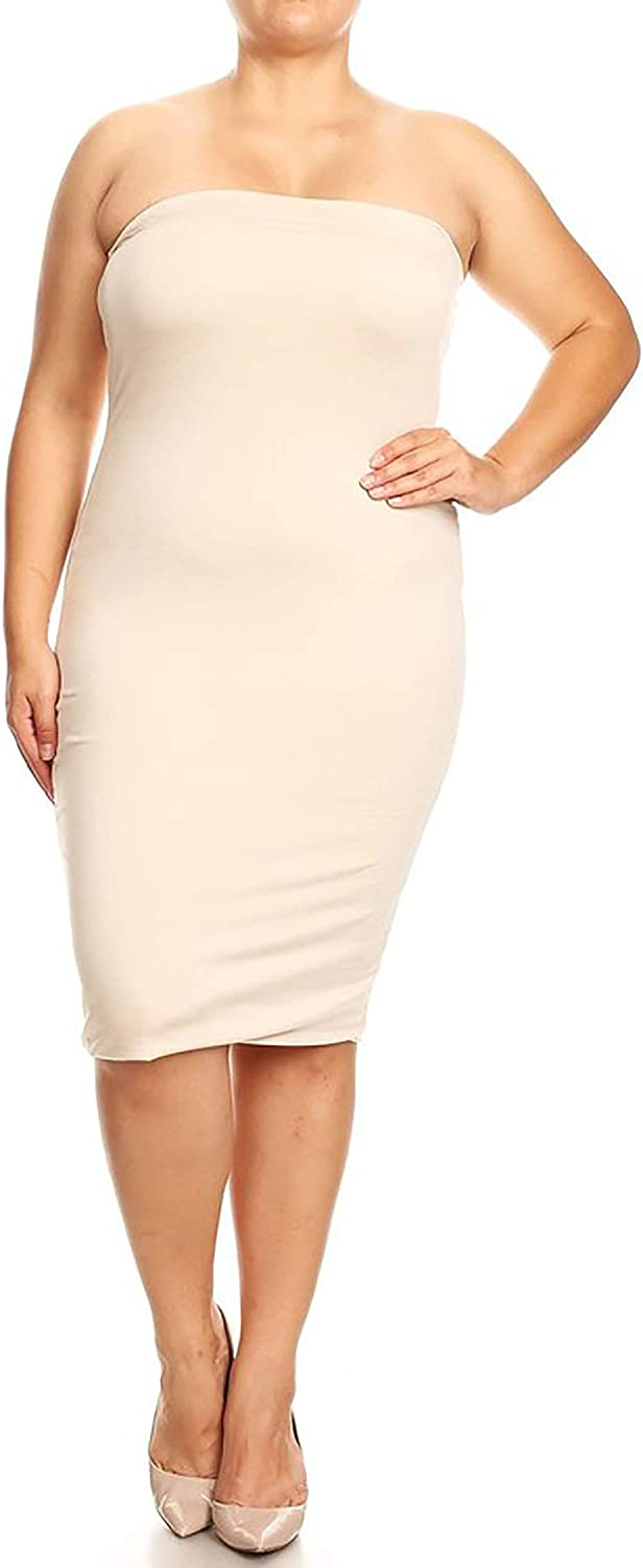 Women\'s Plus Size Solid Print Office Strapless Bodycon Midi Tube Dress/Made  in USA