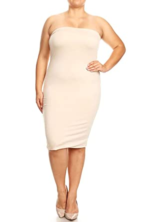 6ad140c606 Plus Size Solid Print Office Strapless Bodycon Midi Tube Dress Made in USA  Beige XL