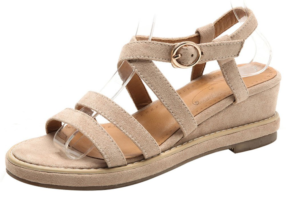 Mofri Women's Stylish Open Toe Sandals - Faux Suede Platform - Buckle Wedge Medium Heels Gladiators Shoes B07D4GF1T5 6.5 B(M) US|Beige