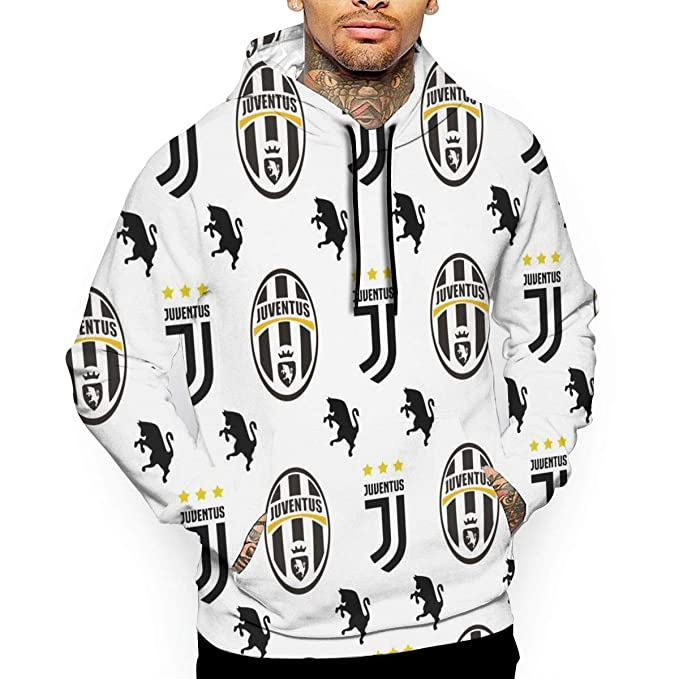 BSalvatore Juventus FC Felpa da Uomo Felpa con Cappuccio da