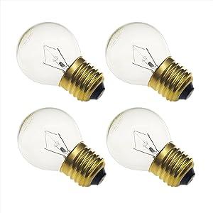 Jslinter 40 watt Appliance Oven Light Bulb - High Temp - 120v Clear - 415 Lumens - Medium Brass Base - G45 4-Pack