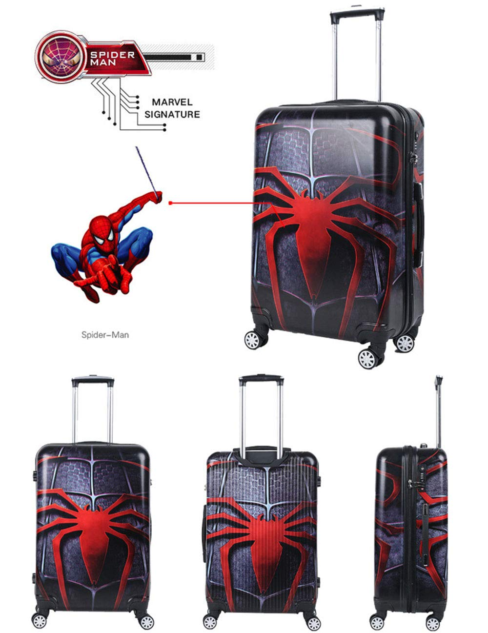 Spiderman luggage Trolley Case Luggage Case Suitcase Spinner Carry-On Luggage Hardshell Exterior Sleek Boarding Bag by HongHe (Image #3)