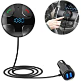 Car Bluetooth FM Transmitter, MP3 Player Bluetooth Handsfree Car Kit Wireless Radio Audio Adapter With 2 USB 5V 3.4A USB Port, Support TF Card