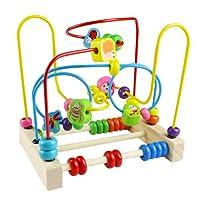 Yoptote Giochi di Bead Maze in legno Roller Coaster Animale Puzzle Giocattoli con 40 pezzi Beads per Bambini