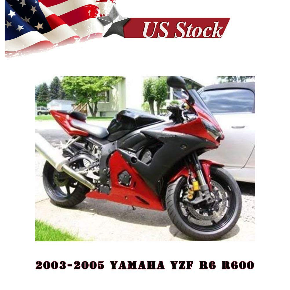FocusAtOne US Stock!! Candy Red with Matte Black Complete Fairing Bodywork Aftermarket Painted ABS Plastic Thermoform Molding Kit for 2003-2005 03-05 2004 Yamaha R600 YZF-R6 R6