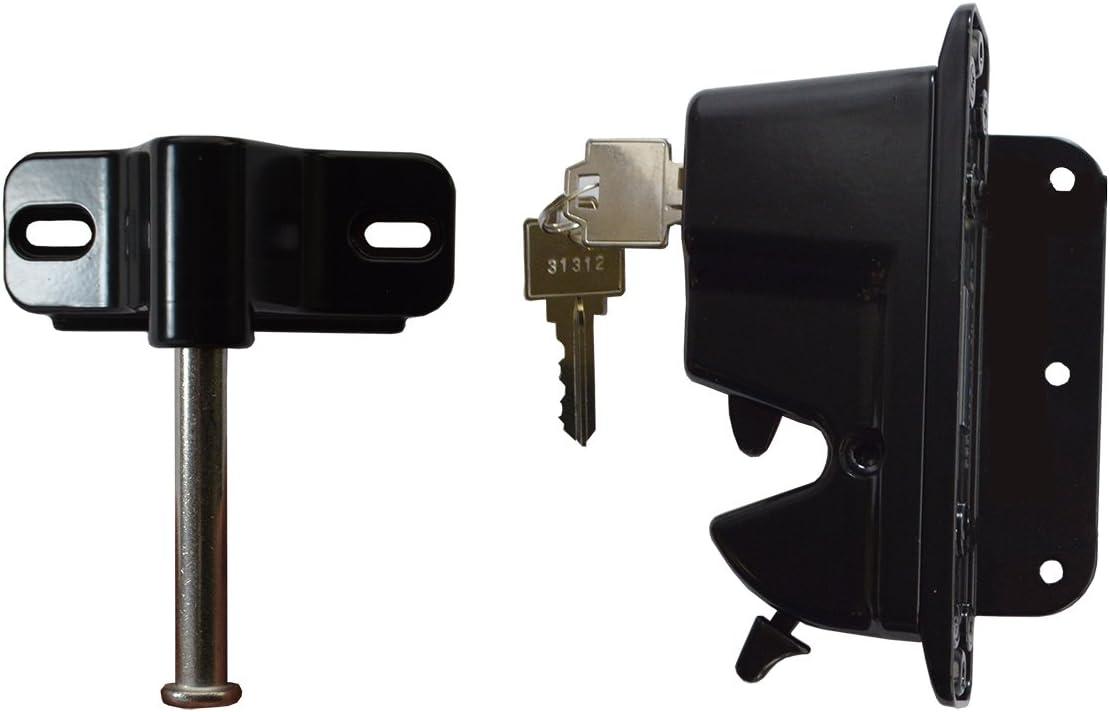 Nationwide Industries Keystone Advantage Zinc Diecast Metal 2-Sided Key-Lockable Latch Black KLADV-M2-BK