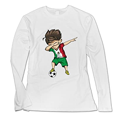 MeredithBushg Woman's Dabbing Soccer Boy Particular Long Sleeve T-Shirt Girl Funny Tee White