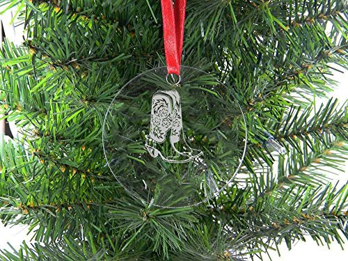 - Personalized Custom Cowgirl, Cowboy Boots Clear Acrylic Hanging Christmas Tree Ornament with Red Ribbon