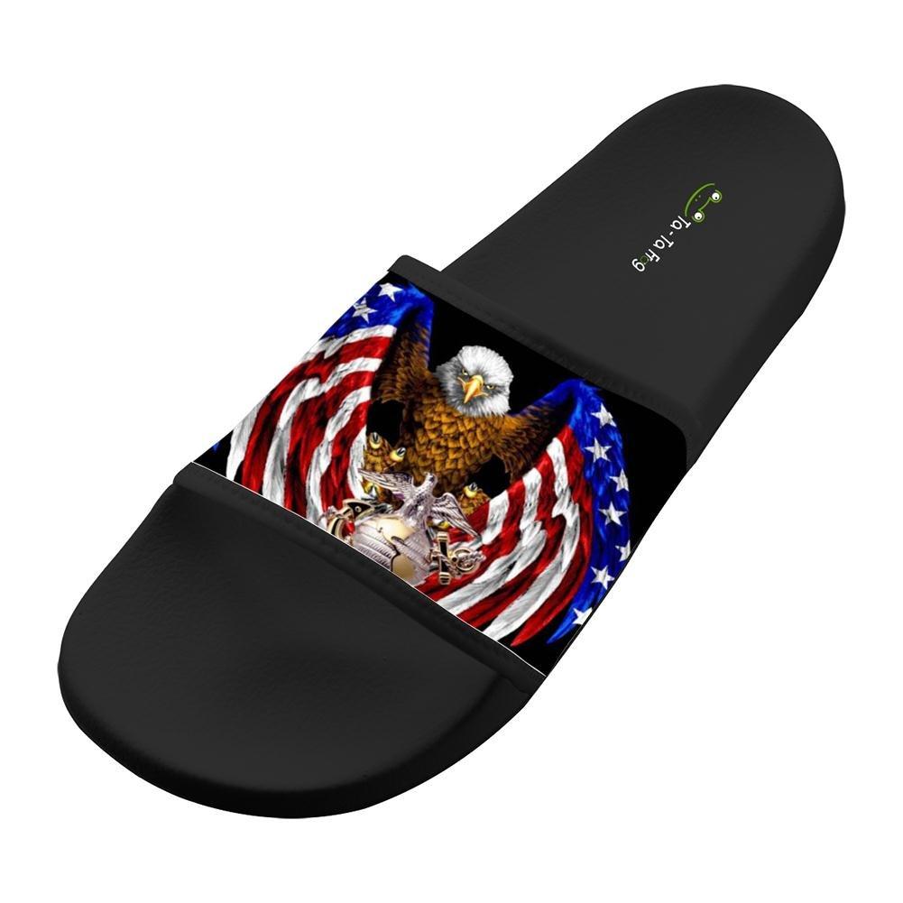 Graphic Flag Eagle Unisex Adults Home Sandal Slipper Beach Flats Flip Flops Open toed Slide Shoes