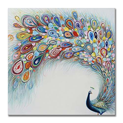 SEVEN WALL ARTS -Colorful Peacock Artwork 100% Hand Painted Paintings On Canvas Modern Abstract Animal Pictures Framed Acrylic Artwork for Home Decor 32x32 Inch