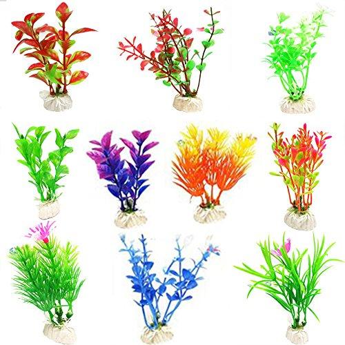 Glendan 10 Pack Artificial Aquarium Plants-Small Size 4 to 4.5 inch Fish Tank Decorations Home Décor Plastic Assorted ()