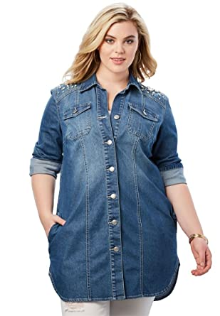 8a4c0992687 Roamans Women s Plus Size Rhinestone Denim Jacket at Amazon Women s Coats  Shop