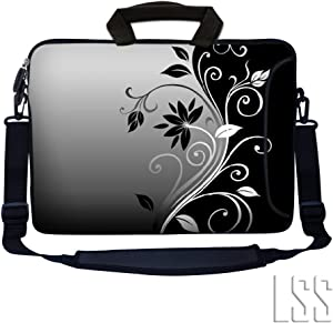"LSS 13.3 inch Laptop Sleeve Bag Notebook with Extra Side Pocket, Soft Carrying Handle & Removable Shoulder Strap for 12"" 12.1"" 13"" 13.3"" Apple MacBook Air, GW, Acer, Aspire Asus, Dell, HP, Sony, Toshiba, Samsung - Gray Black Swirl Floral"