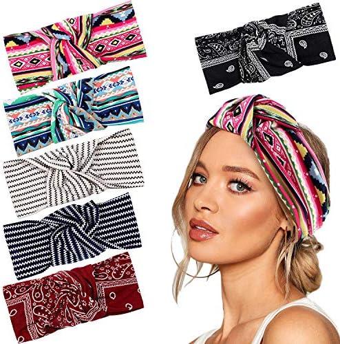 vamei 6 Pièces Bandeau Cheveux Femme Bohême Bandeau Bandeau Fleur Vintage Imprimé d' été Headband pour femme Cheveux Accessoire