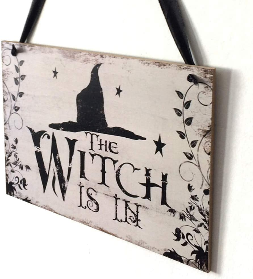 Halloween Witch Door Hanger Sign Hanging Tag with Witch Hat Decoration for Window Halloween Decorations
