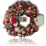 "Custom & Unique (21"" Inches) 1 Single Mid-Size Decorative Holiday Wreath for Door w/ Ribbons Bows Ornament Balls Vintage German Winter Wonderland Season Santa Festive Style (Red, White & Green)"