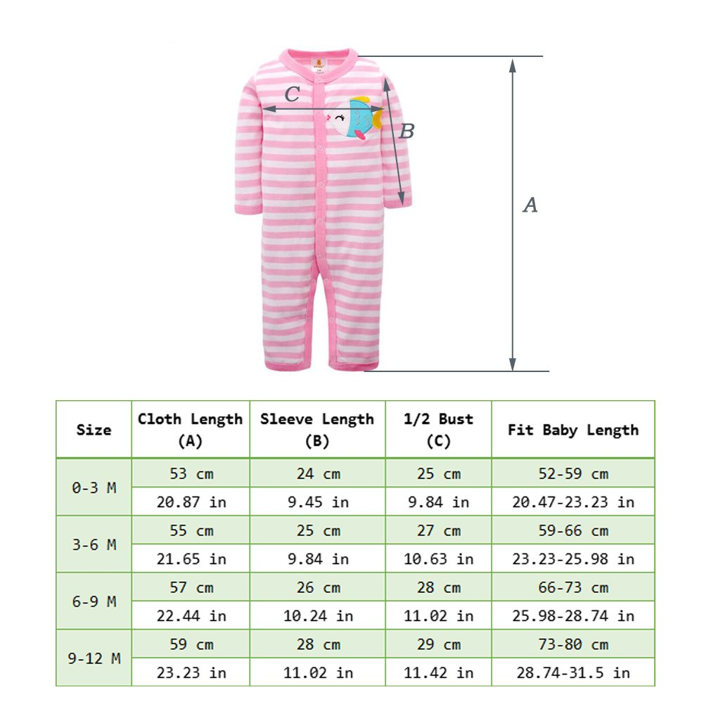 Fairy Baby Striped Baby Pajamas Bodysuits Winter Cotton Footless Long Sleeve Rompers