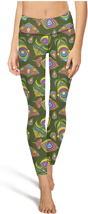 03589ac26effc juiertj rt Long Pilates Peacock Bird Feathers Indian Traditional Leggings  Women Girls Sweat-Wicking Tights
