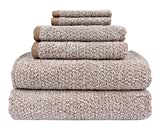 Everplush Diamond Jacquard Bath Towel 6 Piece Value Pack in Brown
