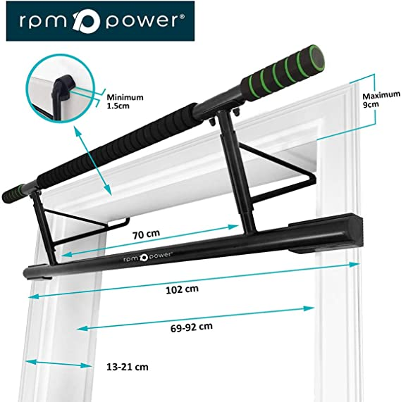 (Nueva) Barra Ajustable para Puertas de RPM Power - Un Producto versátil para rutinas de fortalecimiento y tonificación en casa - No Deja Marcas y no ...