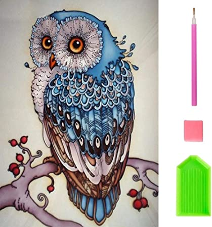 Diamond Painting Kits for Adults Kids Owl in Night DIY 5D Partial Drill Resins Crystal Rhinestone Diamond Embroidery Paintings Pictures Cross Stitch Arts Craft for Home Wall Decor