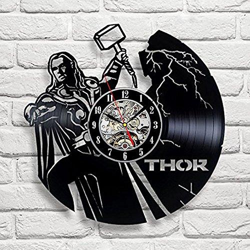 - Thor Art Vinyl Wall Clock Gift Room Modern Home Record Vintage Decoration