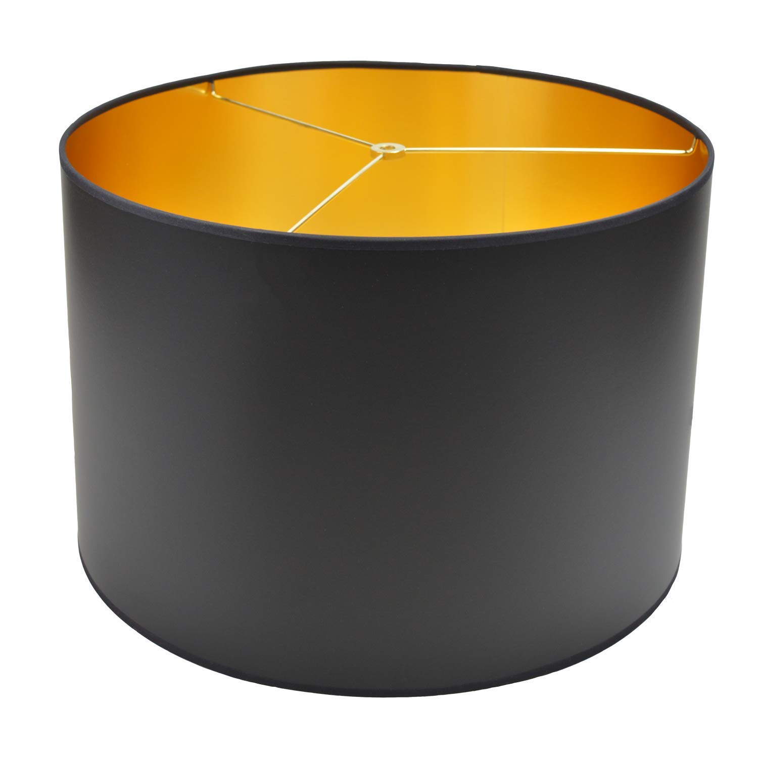 FenchelShades.com 18'' Top Diameter x 18'' Bottom Diameter 12'' Height Cylinder Drum Lampshade USA Made (Black with Gold)