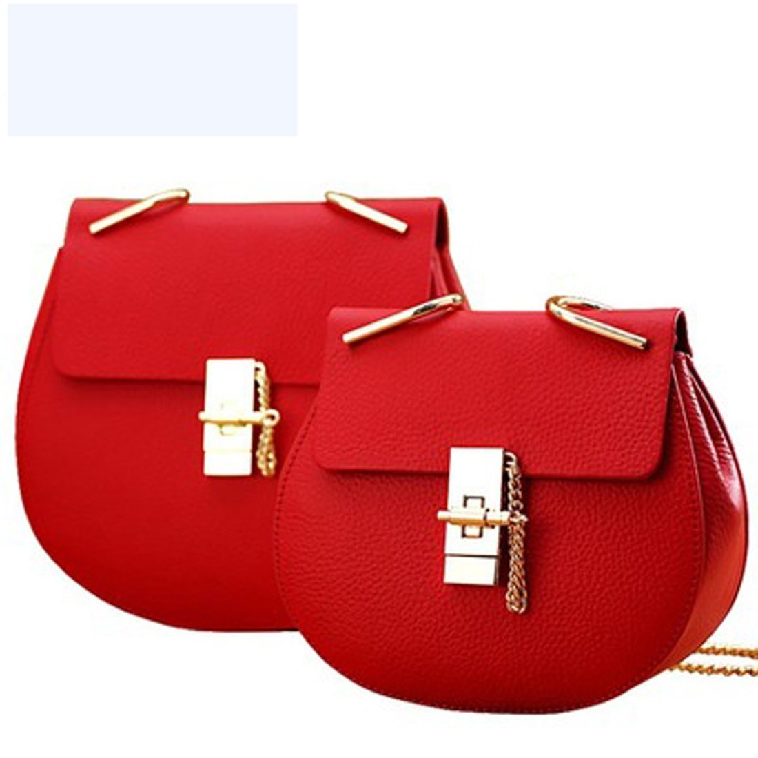 women's round small bag handbag genuine leather solid color black red chain ( Color : 3 ) WTING
