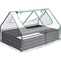 Quictent 49۪۪x37۪۪x36۪۪ Extra-Thick Galvanized Steel Raised Garden Bed Planter Kit Box with Greenhouse 2 Large Zipper Windows Dual Use, 20pcs T-Types Tags & 1 Pair of Gloves Included (Clear)