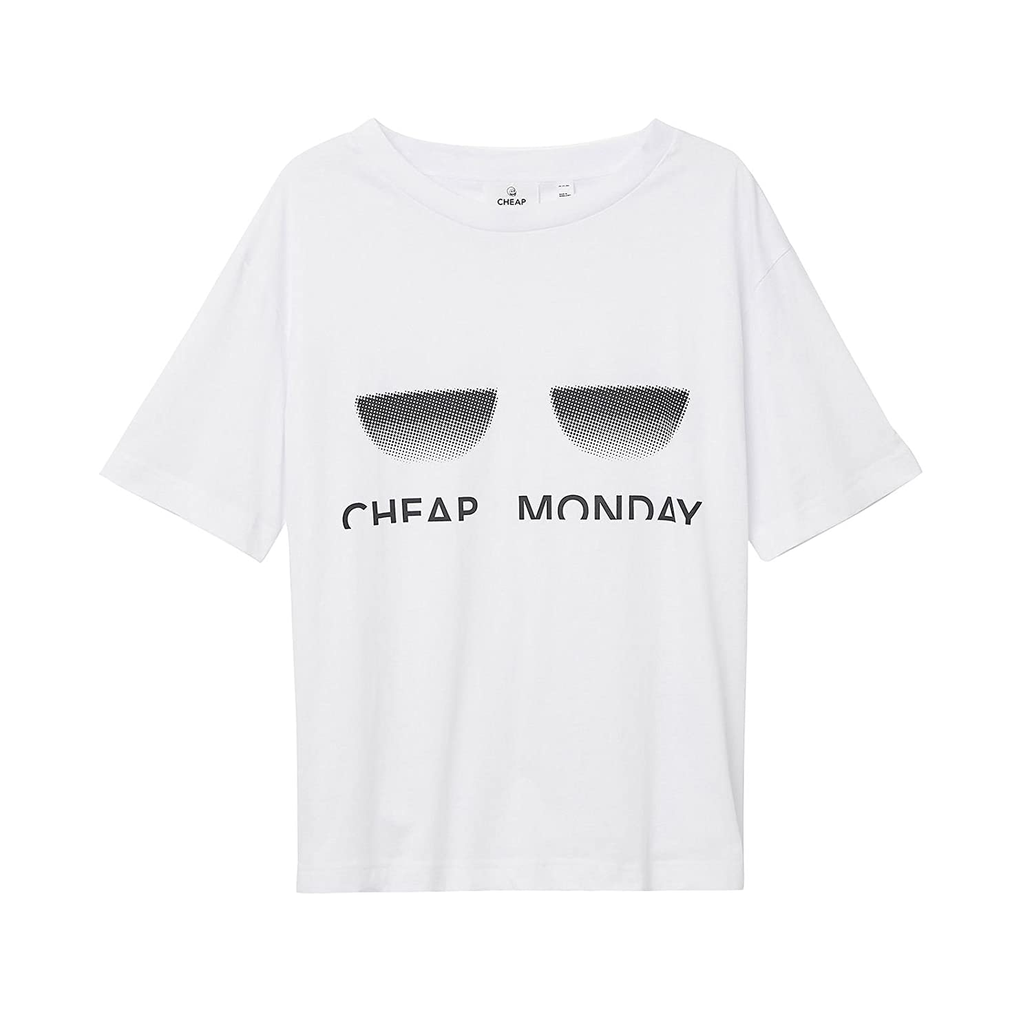 Cheap Monday T-Shirt up Tee Off Spliced White Bianco