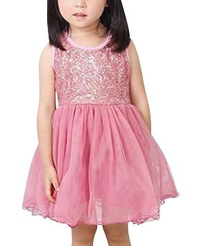 Niñas Lentejuelas Vestidos De Princesa Fiesta Sin Mangas Vestido Para Fiesta Del Boda Pink para 3
