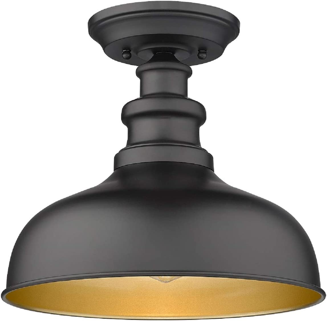 Bestshared Semi Flush Mount Ceiling Light, Farmhouse Close to Ceiling Light Fixture for entryway, Dining Room, Hallway (Black Exterior+ Copper Interior, 1 Pack)