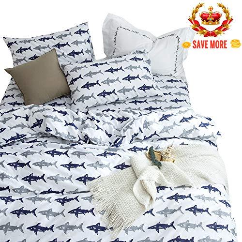 (BuLuTu Blue Grey Shark Twin Kids Boys Bedding Duvet Cover Set Cotton White,Reversible Shark Bedding Sets For Teens with Zipper Closure,1 Duvet Cover and 2 Pillowcases (no Comforter))