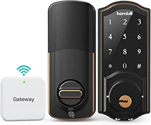 Smart Deadbolt,hornbill Door Locks with Keypads,Include Wi-Fi Bridge,Work with Alexa&Google Home,Free APP, Code,Bluetooth Keyless Entry Door Lock ,Smart Locks Front Door for Home Office Airbnb,Black