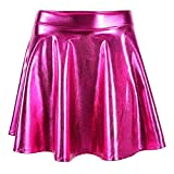 Metallic Pleated Skirt Skater Skirt Short Shiny Liquid Wet Look