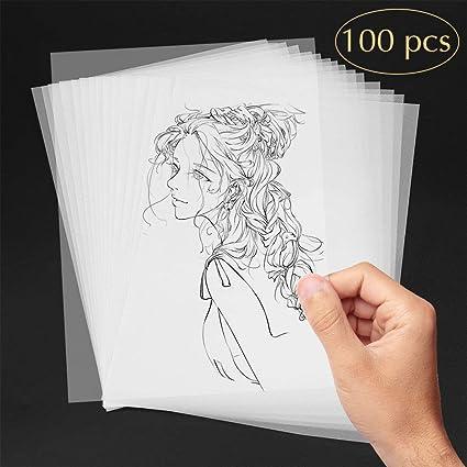 AODOOR Papel de calco, papel transparente formato DIN A4 100 gsm para impresoras láser, diseñar elegantes invitaciones de boda, cartas de menú, ...