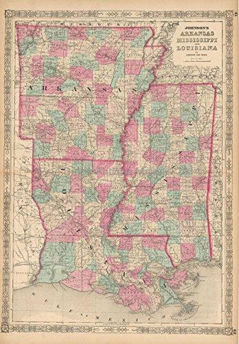 Louisiana Mississippi Arkansas Antique Map Johnson 1863 Original Mississippi Anniversary Housewarmin