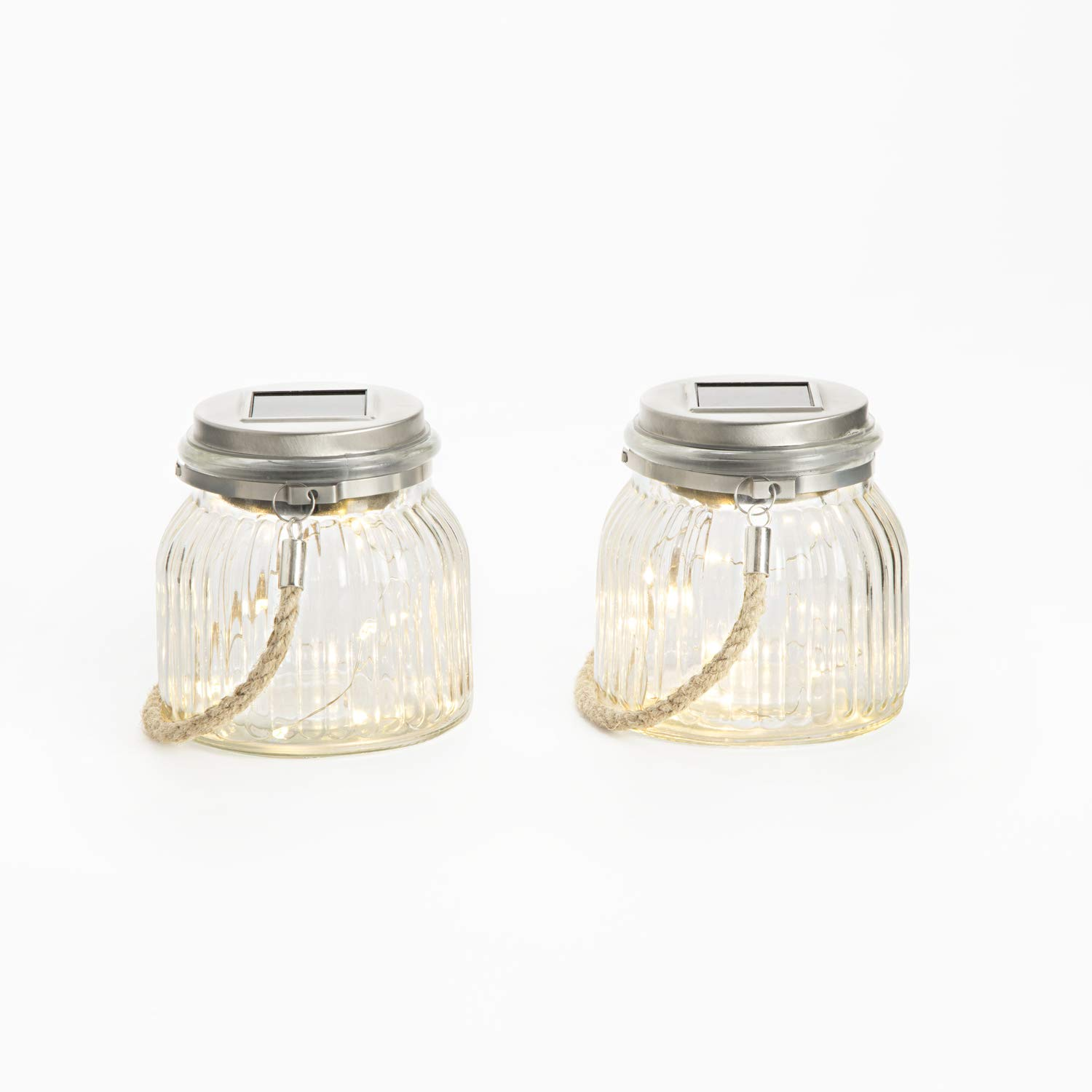 Solar Mason Jar Lights - Set of 2 Outdoor Firefly Lanterns with 40 Warm White LED Fairy Lights, Built-in Solar Panels in Lid, Complete Lighted Decor Kit, Batteries Included