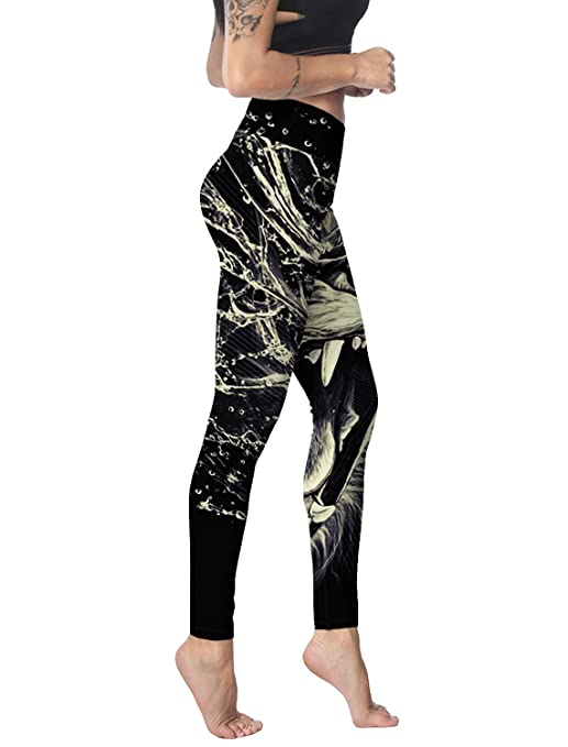 Sodika Womens Yoga Pants Workout Leggings High Waisted Capris Tummy Control Gym Running Leggings Water Color Lion