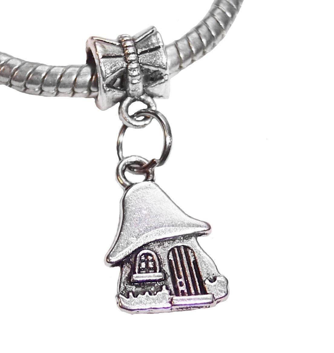 Mushroom House Fairytale Woods Dangle Charm for European Bead Slide Bracelets id-2611