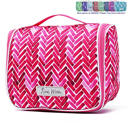 Chapter: True Colors. Large Makeup & Cosmetic Hanging Toiletry Bag Travel Organizer for Men & Women - Fuchsia Cocktail by SWAGNSTRIPES