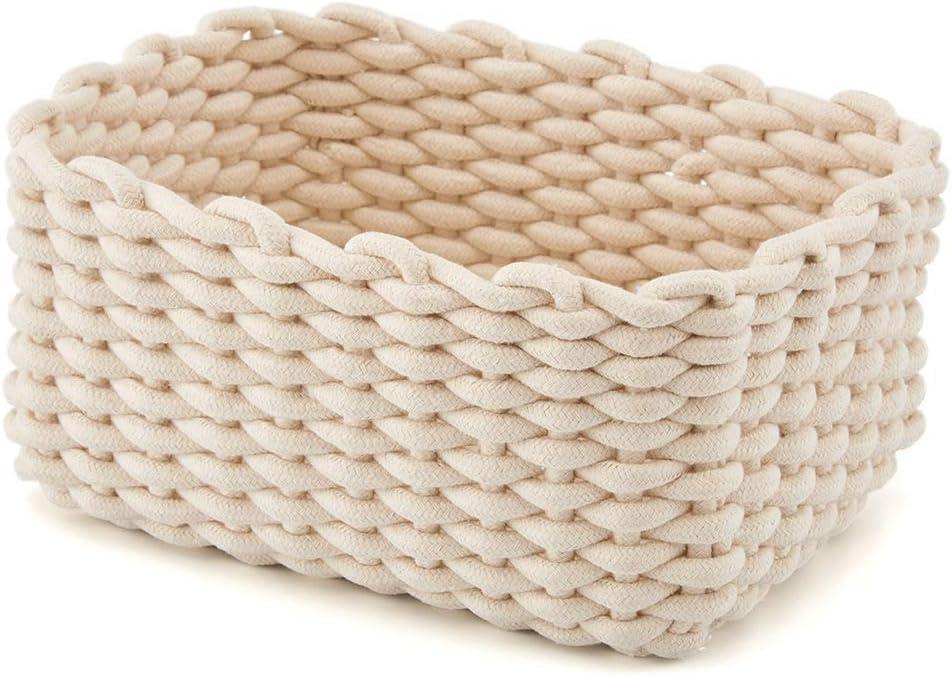 housesweet Cestas de Cuerda de algodón Tejidas a Mano para Almacenamiento de artículos de Escritorio, de la Marca, Blanco, Without Handle: Amazon.es: Hogar