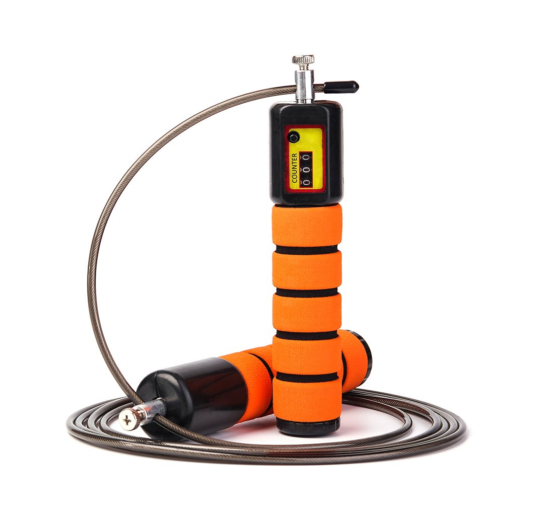 JOYORUN Jump Rope with Counter and Comfortable Handles for Crossfit Workout Boxing MMA - Fully Adjustable to Fit Men, Women and Children