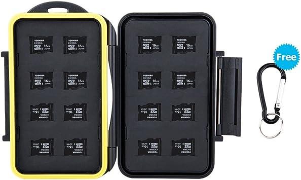 JJC Estuche impermeable para tarjetas de memorias: 16 x tarjetas Micro SD SDHC SDXC, TF con mosquetón: Amazon.es: Electrónica