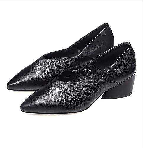 Zapatos de Mujer de tacón Medio de otoño Zapatos cómodos de tacón Grueso  Zapatos de Punta 0314f335b7d5